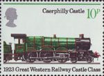 150th Anniversary of Public Railways 10p Stamp (1975) Caerphilly Castle, 1923