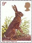 British Wildlife 9p Stamp (1977) Brown Hare