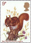 British Wildlife 9p Stamp (1977) Red Squirrel