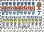 Christmas 7p Stamp (1977) 'Ten Pipers piping, Nine Drummers drumming'