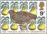 Christmas 9p Stamp (1977) 'A partridge in a a Pear Tree'