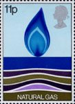 Energy Resources 11p Stamp (1978) Natural Gas - Flame Rising from Sea