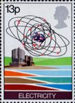 Energy Resources 13p Stamp (1978) Electricity - Nuclear Power Station and Uranium Atom