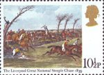 Horseracing 10.5p Stamp (1979) 'The Liverpool Great National Steeple Chase, 1839' (aquatint by F.C. Turner)