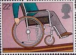 International Year of the Disabled People 22p Stamp (1981) Disabled Man in Wheelchair