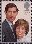Royal Wedding 25p Stamp (1981) Prince Charles and lady Diana Spencer