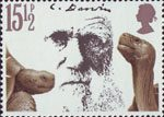 Death Centenary of Charles Darwin 15.5p Stamp (1982) Charles Darwin and Giant Tortoises