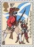 The British Army 16p Stamp (1983) Musketeer and Pikeman, The Royal Scotts (1633)