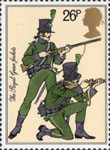 The British Army 26p Stamp (1983) Riflemen, 95th Rifles (The Royal Green Jackets) (1805)