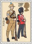 The British Army 28p Stamp (1983) Sergeant (khaki service uniform) and Guardsman (full dress), The Irish Guards (1900)