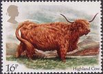 British Cattle 16p Stamp (1984) Highland Cow