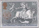 Europa. 25th Anniversary of C.E.P.T. and 2nd European Parliamentary Elections 16p Stamp (1984) Abduction of Europa