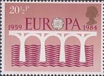 Europa. 25th Anniversary of C.E.P.T. and 2nd European Parliamentary Elections 20.5p Stamp (1984) C.E.P.T. 25th Anniversary Logo