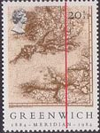 Centenary of Greenwich Meridian 20.5p Stamp (1984) Navigational Chart of English Channel