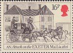 Royal Mail 16p Stamp (1984) Attack on Exeter Mail, 1816