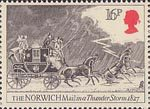 Royal Mail 16p Stamp (1984) Norwich Mail in Thunderstorm, 1827