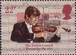 50th Anniversary of The British Council 22p Stamp (1984) Violinist and Acropolis, Athens