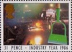 Industry Year 31p Stamp (1986) Garden Hoe and Steel Works (Steel)