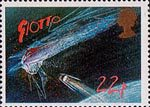 Appearance of Halley's Comet 22p Stamp (1986) Giotto Spacecraft approaching Comet