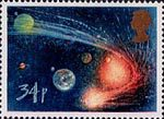 Appearance of Halley's Comet 34p Stamp (1986) Comet orbiting Sun and Planets