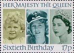The Sixtieth Birthday of Queen Elizabeth II 17p Stamp (1986) Queen Elizabeth II in 1928, 1942 and 1952