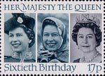 60th Birthday of Queen Elizabeth II 17p Stamp (1986) Queen Elizabeth II in 1958, 1973 and 1982
