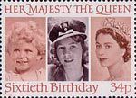 60th Birthday of Queen Elizabeth II 34p Stamp (1986) Queen Elizabeth II in 1928, 1942 and 1952
