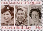 60th Birthday of Queen Elizabeth II 34p Stamp (1986) Queen Elizabeth II in 1958, 1973 and 1982