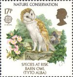 Europa. Nature Conservation. Endangered Species 17p Stamp (1986) Barn Owl