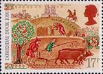 Medieval Life 17p Stamp (1986) Peasants Working in Fields