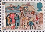 Medieval Life 22p Stamp (1986) Freemen working at Town Trades