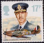Royal Air Force 17p Stamp (1986) Lord Dowding and Hawker Hurricane Mk. I