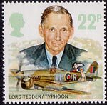 Royal Air Force 22p Stamp (1986) Lord Tedder and Hawker Typhoon 1B