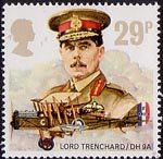 Royal Air Force 29p Stamp (1986) Lord trenchard and De havilland D.H. 9A