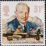 Royal Air Force 31p Stamp (1986) Sir Arthur Harris and Avro Type 683 Lancaster