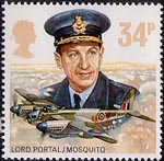 Royal Air Force 34p Stamp (1986) Lord Portal and De havilland D.H. 98 Mosquito