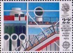 British Architects in Europe 22p Stamp (1987) Pompidou Centre, Paris