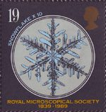 Microscopes 19p Stamp (1989) Snowflake (x10)
