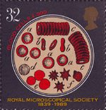 Microscopes 32p Stamp (1989) Blood Cells (x500)