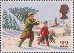 Christmas 1990 22p Stamp (1990) Fetching the Christmas Tree