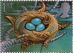 Greetings Booklet Stamps 'Good Luck' 1st Stamp (1991) Thrush's Nest