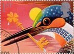 Greetings Booklet Stamps 'Good Luck' 1st Stamp (1991) Common Kingfisher with Key