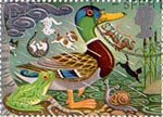 Greetings Booklet Stamps 'Good Luck' 1st Stamp (1991) Mallard and Frog
