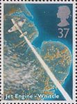 Scientific Achievements 37p Stamp (1991) Gloster Whittle E29/39 Aircraft  over East Anglia (50th Anniversary of Firt Flight of Sir Frank Whittle's Jet Engine)
