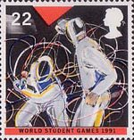 Sport 22p Stamp (1991) Fencing