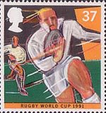 Sport 37p Stamp (1991) Rugby