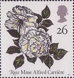 Roses 26p Stamp (1991) 'Mme Alfred Carriere'