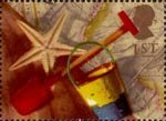 Greeting Stamps. 'Memories' 1st Stamp (1992) Bucket, Spade and Starfish