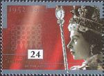 40th Anniversary of Accession 24p Stamp (1992) Queen Elizabeth in Coronation Robes and Parliamentary Emblem