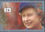 40th Anniversary of Accession 24p Stamp (1992) Queen Elizabeth and Commonwealth Emblem